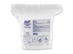 Gojo 911502 Premoistened Sanitizing Wipes, Nonwoven Fiber, 5 in. x 8 in., 1500-Refill