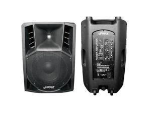 SOUND AROUND-PYLE INDUSTRIES PPHP126A 1000 Watts 12 in. Powered 2 Way Plastic Molded PA Speaker with Wheels for Easy Transport