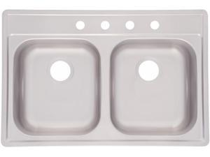 Franke Kindred FDS804NB 33 in. X 22 in. X 8 in. Stainless Steel Double Sink