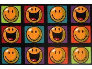 La Rug SW-13 1929 19 in. x 29 in. Smiley Happy and Smiling Accent Rug - Multi Colored