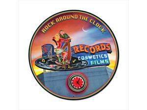 Past Time Signs LG251 Rock Around The Clock Round Sports And Recreation Vintage Metal Sign