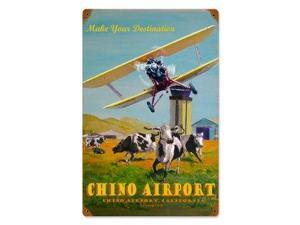 Past Time Signs VG007 Chino Airport Aviation Vintage Metal Sign
