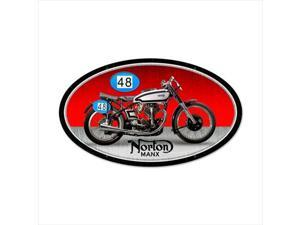 Past Time Signs FRC092 Norton Manx Motorcycle Oval Metal Sign