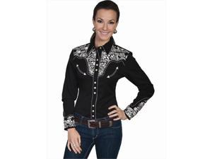 Scully PL-654-SIL-XL Womens Embroidered Yoke Long Sleeve Western Show Shirt, Silver - XL