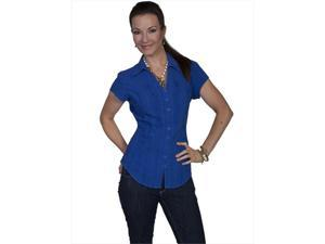 Scully PSL-066-DZB-L Female Cantina Shirt - Dazzling Blue, Large