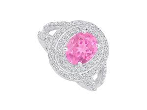 Fine Jewelry Vault UBUNR83750W149X7CZPS CZ & Pink Sapphire Split Shank Ring in 14K White Gold, 98 Stones