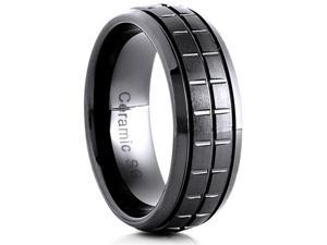 Doma Jewellery SSCER0129.5 Ceramic Ring 8 mm. Wide Satin Center, Size 9.5