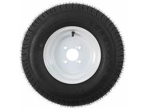 Americana AMW-3H370 205-65-10 x 6 4H Bias Trailer Tire & Rim Steel Wheel , White