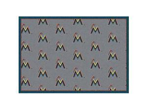 Milliken 4000019606 5 ft. 4 in. x 7 ft. 8 in. MLB Team Repeat Florida Marlins Baseball Area Rug - Rectangle