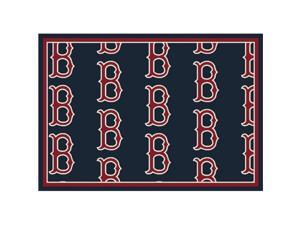 Milliken 4000019618 5 ft. 4 in. x 7 ft. 8 in. MLB Team Repeat Boston Red Sox Baseball Area Rug - Rectangle, Multi Color