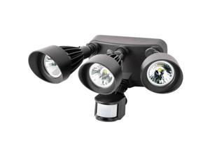 Morris Products 72564 Led Motion Activated Security Flood Lights, 3 Head, 36 Watts, Bronze, 3000K