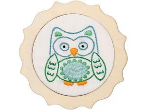 Bucilla 49043E 4 in. Round Blue Owl 1st Stitch