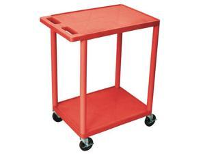 Luxor Two Shelf Utility Cart With Swivel Casters -Red