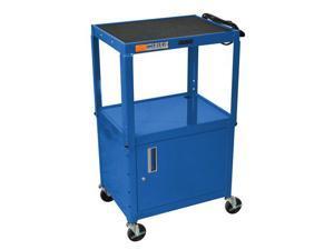 "Luxor Blue 42"" Adjustable 2 Shelf Mobile Multimedia Multipurpose Rolling Portable AV Cart With Lockable Storage Cabinet Table ..."