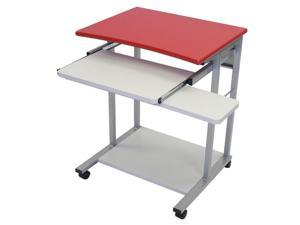 Luxor Mobile Portable Laptop Computer Metal Workstation Rolling Cart Stand Table Storage Desk With Pullout Keyboard Red