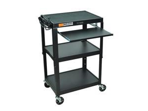 Luxor Adjustable Steel Multipurpose Mobile Rolling AV Cart Table With Pullout Keyboard Tray