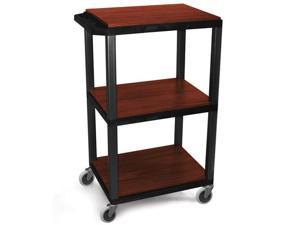 H.Wilson Portable 42'' H Adjustable Black Cherry All Purpose Boardroom Service Utility Tuffy AV Cart With 3 Shelves And Electrical ...