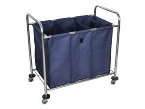 Luxor Rolling Heavy Duty Industrial Laundry Sorter Cart With Triple Dividers