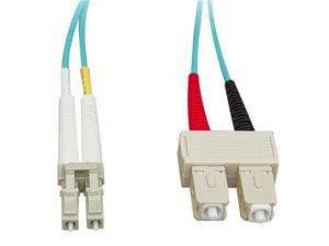 Cable Wholesale LC / SC Multimode Duplex Fiber Optic Cable 10-Gigabit Aqua 50/125 - 10 Meter (33ft)