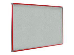 Ghent 4x8 DecoAurora Aluminum Frame Stone Vinyl Tackboard - Red Trim