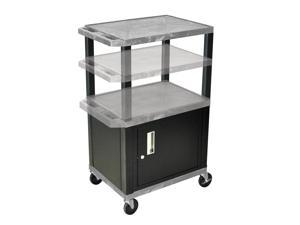 H Wilson WT2642C2E-B Adjustable Height 3 Shelves Gray Tuffy Cart with Cabinet Black Legs