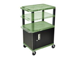 H Wilson WT2642C2E-B Adjustable Height 3 Shelves Green Tuffy Cart with Cabinet Black Legs