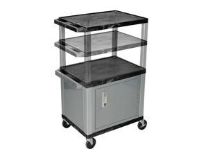 H Wilson WT2642C4E-N Adjustable Height 3 Shelves Black Tuffy Cart with Cabinet Nickel Legs