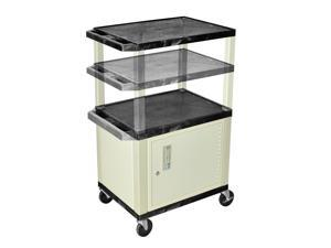 H Wilson WT2642C3E Adjustable Height 3 Shelves Black Tuffy Cart with Cabinet Putty Legs