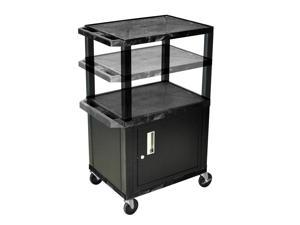 H Wilson WT2642C2E-B Adjustable Height 3 Shelves Black Tuffy Cart with Cabinet Black Legs
