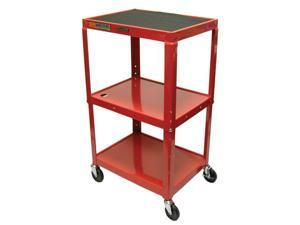 Luxor AVJ42 3 shelves Steel Adjustable Height AV Cart Red