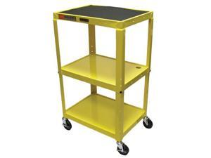 Luxor 3 Shelf Adjustable Height Metal Multimedia Multipurpose Rolling Storage Utility Computer Workstation Cart Yellow