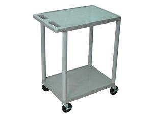 Luxor HE32 2 Shelves Structural Foam Plastic Utility Cart Gray
