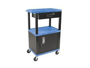 H. Wilson Multipurpose Utility Cart With Cabinet and DrawerBlue and Black