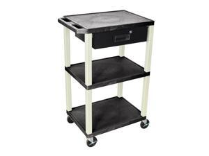 "H. Wilson 42""H 3 Shelves Portable Multipurpose Multimedia Storage Utility Tuffy AV Cart With Black Pull Out Drawer"