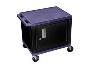 H Wilson WT26C2-B Tuffy AV Cart Navy 2 Shelves with Cabinet Putty Legs