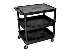 Luxor TC211 Large Flat Top and Tub Middle/Bottom Shelf Cart Black