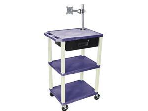 H. Wilson Multipurpose Utility Cart With Monitor Mount and Drawer Topaz and Putty