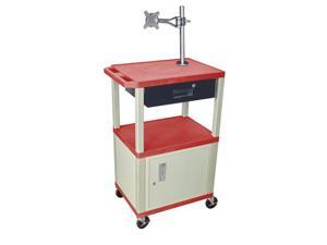 H. Wilson Multipurpose Presentation Cart With Cabinet Monitor Mount Push Handle Drawer Red Putty Legs