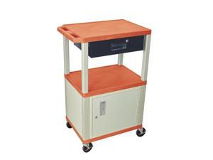H. Wilson Movable Multipurpose Storage Utility Cart Lockable Cabinet Drawer Push Handle Orange Putty Legs
