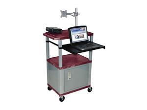 H Wilson WT42C4M-N Tuffy Monitor Mount AV Cart Burgundy with Cabinet 3 Shelves Nickel Legs