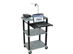 H. Wilson Mobile Multipurpose Open Shelves Audio Visual Presentation Cart Black Pull Out Laptop Tray Gray