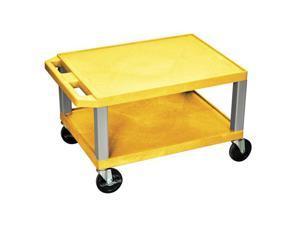 H Wilson WT16-N Tuffy AV Cart Yellow 2 Shelves Nickel Legs