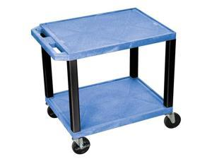 H Wilson WT26E-B Tuffy AV Cart Blue 2 Shelves Black Legs