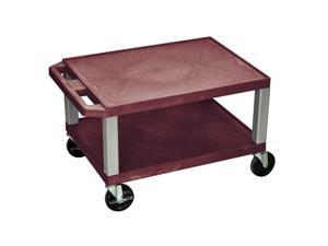 H.Wilson 2 Flat Shelf Rolling Multipurpose Lightweight Service Utility Storage Tuffy AV Cart Casters Burgundy Nickel
