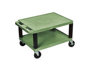 H.Wilson 2 Flat Shelf Rolling Multipurpose Lightweight Service Utility Storage Tuffy AV Cart Casters Green