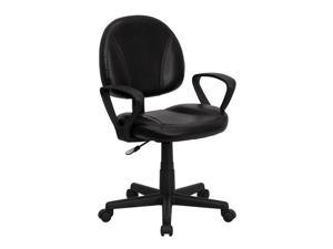 Flash Furniture Mid-Back Black Leather Ergonomic Mobile Computer Home Office Desk Task Chair with Arms