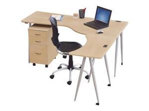 Balt Iflex Full Table - Right - Teak Top - Silver Legs