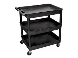 Luxor Black Mobile Large Tub 3 Shelf Plastic Storage Utility Cart With Push Handle, 4 Heavy Duty Casters