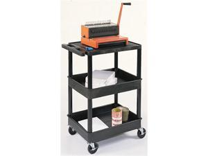 Luxor 3 Large Tub Shelf Mobile Multipurpose Kitchen Utility Storage Service Cart BLACK