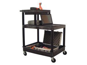 LUXOR 2 Shelf and Upper Shelf Stand Up Tool Cart Black
